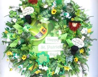 Saint Patrick's Wreath-Leprechuns-Deco Mesh Wreath~Large Sign-Irish Wreath-Greens~Wall/Door Wreath~Whimsical Wreath~Ribbons~Green Wreath