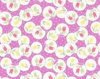 Lecien Retro 30's Child's Purple Tulip  Cotton Quilt Fabric by 1/2 yd. #31442-110