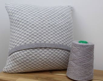 Knitted lambswool cushion grey and cream geometric triangle pattern - handmade in the UK