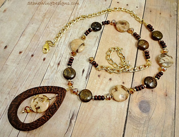 Bronzite, Wood and Crystal Necklace