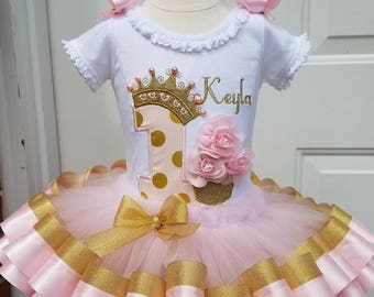 pink and gold princess crown #1 with 3D roses cupcake, personalized, pink and gold ribbon trim tutu, girls first birthday