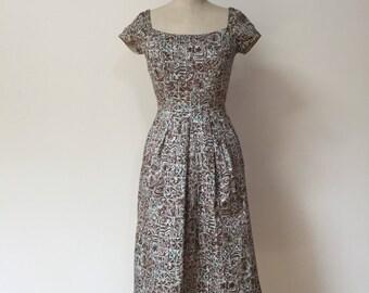 Vintage 50s Wiggle Tiki Dress XS S