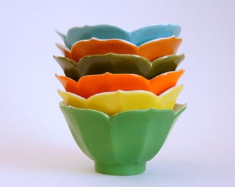 Vintage Lotus Bowls, Multi-Colored Rice Bowls, 6 Dessert Dishes, Chadwick Miller Importers, Made in Japan