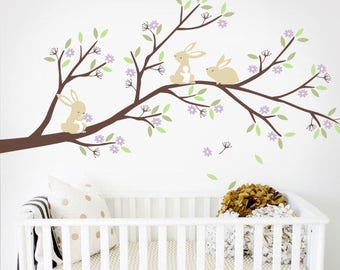 Bunnies Branch with Flowers - Nursery Tree Wall Decal Sticker