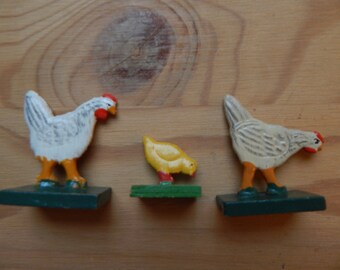 Antique Vintage Erzgebirge Wooden Toy Hand Painted Hens & Chick German Wood Toys Christmas Putz