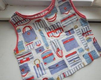 Vintage 1950s 1960s Cotton Sleeveless Girls Blouse Novelty Print Handbags