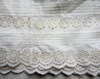 "Vintage Eyelet Border Fabric Remnant from Cotton Slip 85"" long x 13"" wide"