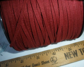 Dark Red Wholesale Spool 3mm Faux Suede Cord Chamude String 100 yds Carmine for bracelets necklace crafts 1.4MMx3MM Eco Boho