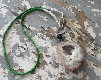 Boho Tassel Jewelry Boho Necklace Stone Druzy Green Repurposed Upcycled Recycled