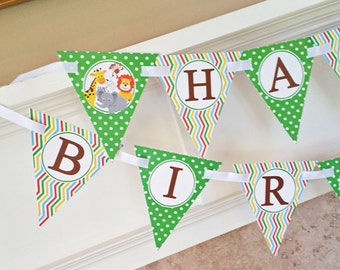 Jungle Animal Safari Bunting Banner Printable - Instant Download for Safari Jungle Party - Zoo - Jungle Collection