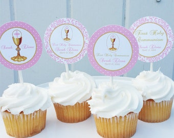First Communion Cupcake Toppers - Printable or Assembled/Shipped with FREE Shipping - First Communion Collection