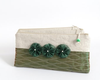 Clutches Pine Forest Green Wristlets, Bridesmaids Proposal Set Gift Idea Mountains Destination Wedding Party Accessories