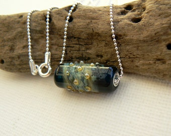 Dark Sea Blue Lampwork and Sterling Silver Pendant on a Sterling Silver Chain,OOAK