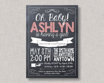 Girl Baby Shower Invitation, Baby Shower Invitation, Chalkboard Baby Shower Invitation, Baby-Q, Backyard Baby Q, BBQ Baby Shower, Chalkboard