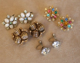 4 Pair Vintage Earrings Coro Foil Back Rhinestone Clip on Screw Backs
