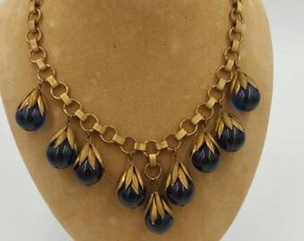 Vintage Blue Prystal Bakelite Book Chain Necklace Blue Bakelite Necklace