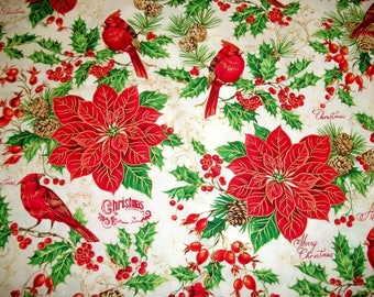 Christmas Fabric, By The Yard, FabriQuilt Fabric, A Happy Christmas, Sewing Crafting Fabric, Novelty Fabric, Quilting Fabric, Birds