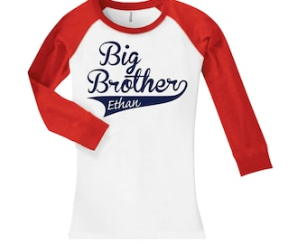 Big Brother Swoosh Personalized sibling baseball shirt - cropped/long sleeve fitted raglan shirt- any name- pick your colors!