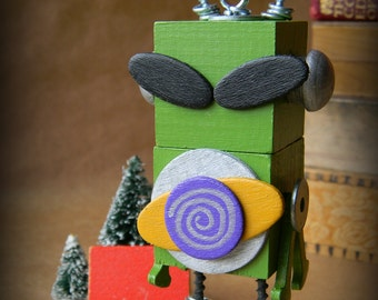 Robot Ornament - Alien Bot - Upcycled Ornament - Hanging Decor by Jen Hardwick