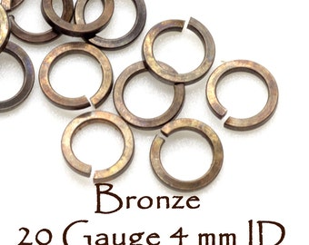 20 Gauge Bronze Square Wires Jump Rings 4 mm