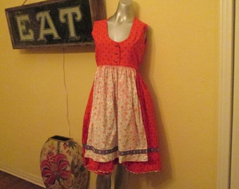 Vintage 1960s Dirndl Dress Apron Front / Medium Large Dirndl Red Blue White