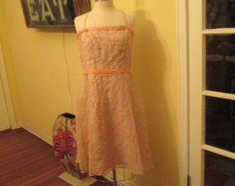 Vintage Large Embroidered Dress / Laundry Shelli Segal Peach Summer Dress Size 12