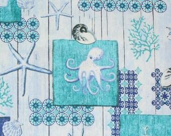 Beach Fabric, Whale Fabric, Octopus Fabric, Seahorse Fabric, Seashells, Beach Collage, Nautical Fabric, By Yard, Starfish , Blue and Green