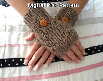 Fingerless Gloves PDF Knitting Pattern Yarn Over Cable Design Knitting Fingerless Gloves Pattern Is not a finished product