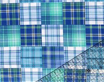 Madras Fabric, Plaid Fabric, Boy Plaid, Flannel BTY, Blue Plaid Fabric, Baby Nursery, Cotton Fabric, By The Yard