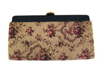 50s Clutch Purse Tapestry Clutch Purse  Fabric Clutch Purse Tapestry Handbag 1950s Pocketbook Vinyl Trim Purse Floral Tapestry Clutch