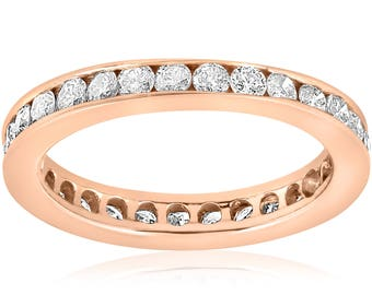 Rose Gold Diamond Ring 1ct Diamond Eternity Ring Rose Gold Diamond Wedding Ring Channel Set Stackable Anniversary Womens Band 14 karat