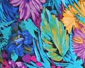 Tropical Flowers Rayon Fabric, 100 Percent Rayon, 1 yard cut