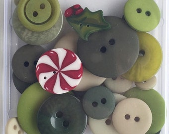 24+ Holly & Ivy Flavor Button Pack by Just Another Button Company Co. at thecottageneedle.com Winter Christmas Green Red Peppermint