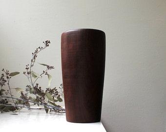 Vintage Modern Wood Weedpot Vase Dried Flowers 1960's Hand Turned Mahogany Brazil