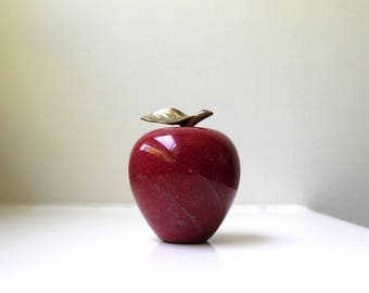 Vintage Red Marble Apple Stone Paperweight Art Figurine Retro Decor