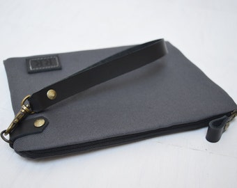 Medium Grey Personalized Clutch, Monogrammed canvas pouch, Unisex Zipper Bag, Leather Engraved Label, Customization Bag, Unique Gift for Men