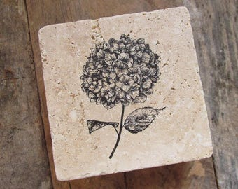 Natural stone coaster. Hydrangea Coasters.  Hostess gift. Thank you gift. Cottage Decor.  Set of Four Coasters. Gift.