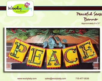 "Wool applique kit -Peaceful Season Banner from WoolyLady 9"" x 31""  - Free shipping U.S."