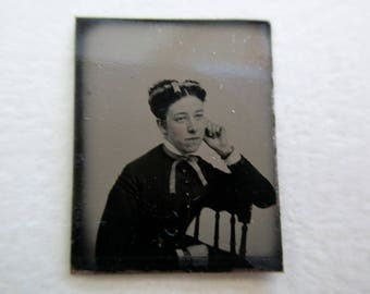 antique miniature gem tintype photo - 1800s, woman with pensive pose