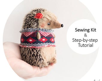 Sewing Kit Mini Hedgehog 11cm with Tutorial and Pattern