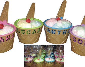"""Ice Cream Dish with spoon filled with Cotton Candy and Gumball / personalized wrapped / 4"""" wide x 2.5"""" tall / Ice cream dish / Ice cream cup"""