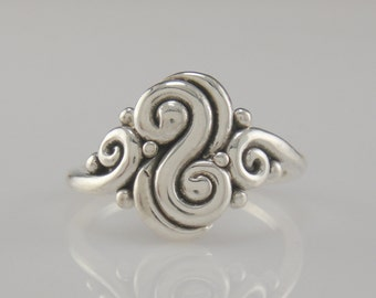 R974-Sterling Silver Backward S Ring- One of a Kind