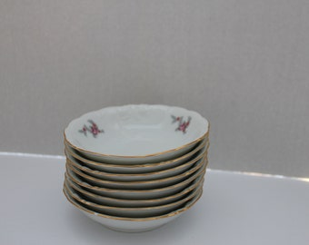 Vintage Wawel Berry Bowls 8 Berry Bowls with Rose Pattern Wawel China Made in Poland
