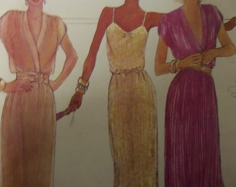 SLIP DRESS Pattern • McCall's 6905 • Miss 10 • Slit Hem Evening Dress • Pullover Dress • Deep V-Neck • Vintage Patterns • WhiletheCatNaps