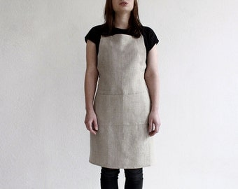 Linen apron, Full apron, Flax grey apron, Unisex apron, Grey linen apron, Apron with pockets, Men's apron, Women's aprons