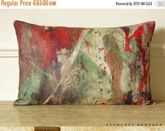 "SALE Asian  inspired throw pillow. Linen abstract art printing oblong pillow 14""x 22"" .. Coral orange & boho green .. Carpe koi / FRAGMENTS"