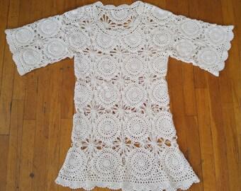 70's Vintage Crochet Mini Dress, Boho Hippie Festival Goddess, Handmade, Medium/Large, Cotton