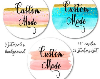 "Watercolor Stickers - Custom Made Stickers - Peach and Gold Stickers - Blue and Gold - Peach and Pink Custom Stickers, 1.5""  Set of 24"