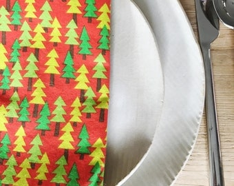 Holiday Neon Trees Napkins - Set of 4 Reversible Cloth