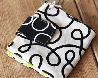 Folded Wallet - White with Black Swirls